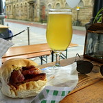 Bacon Sausage Bun with Lemon Sherbet Ale at the Orchard bar at Preston Market
