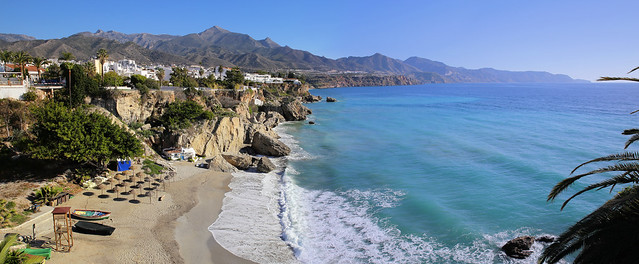 The beach which graces any Nerja themed postcard