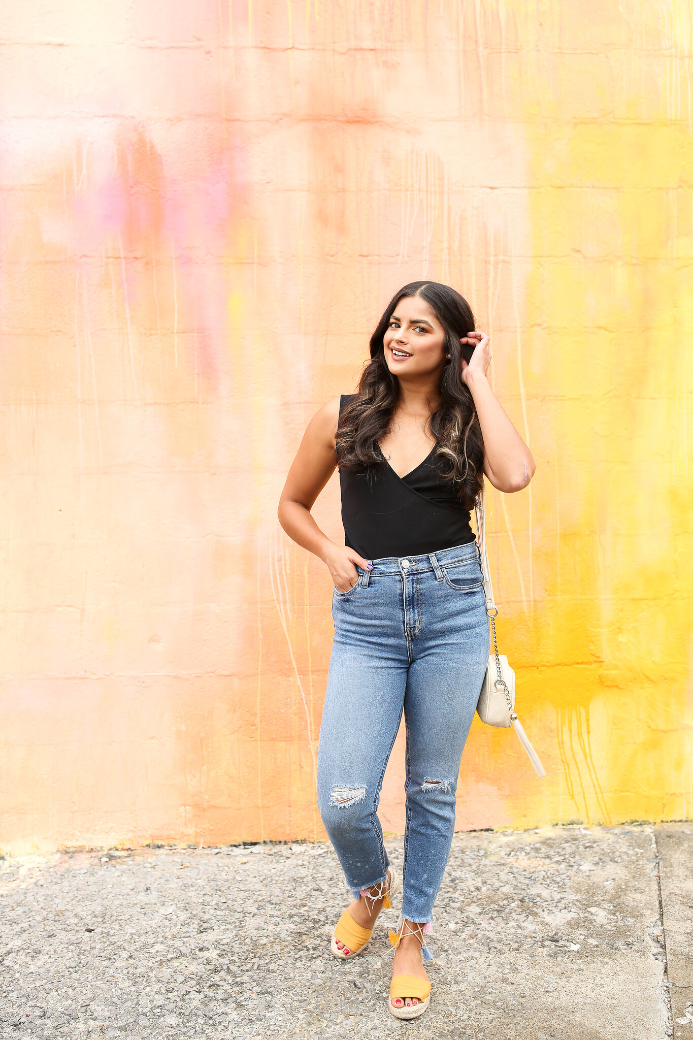 Priya the Blog, Nashville fashion blog, Nashville fashion blogger, Nashville style blog, Nashville style blogger, espadrilles, how to wear espadrilles, espadrille outfit, Urban Outfitters Girlfriend Jeans, late Summer outfit, Nashville mural, lace-up tassel espadrilles