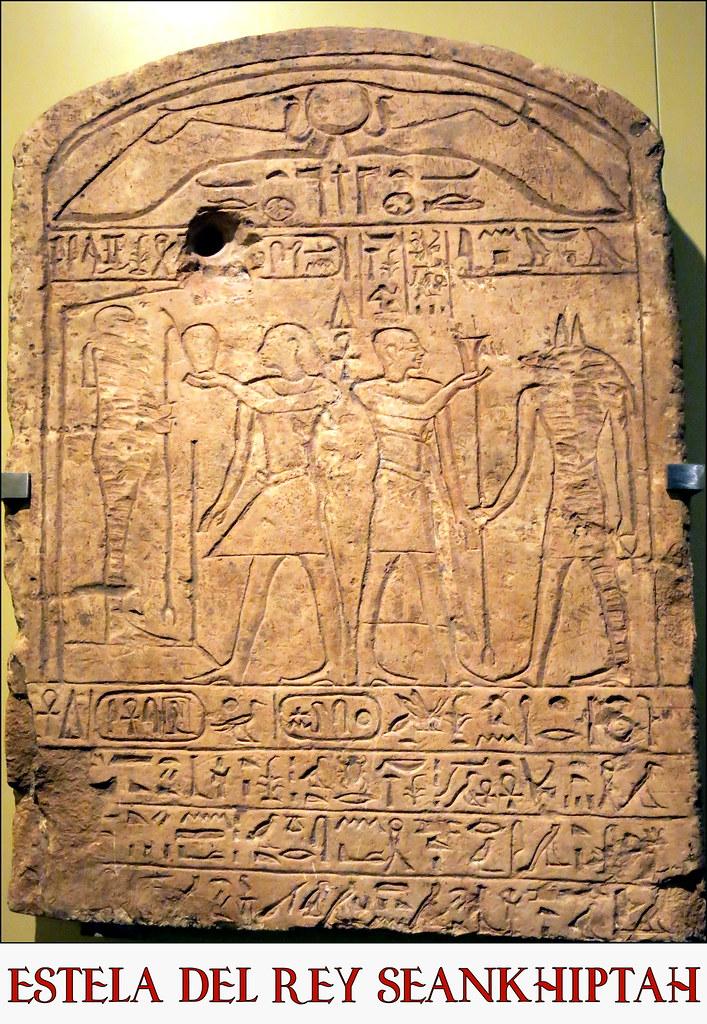 Estela del rey Seankhiptah, piedra caliza, Dinastías XIII-XIV. 1785-1633 a.C., Antiguo Egipto,