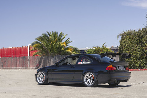 "BMW E46 M3 Track Car with 18"" EC-7R Forged Wheels in Brushed Clear 
