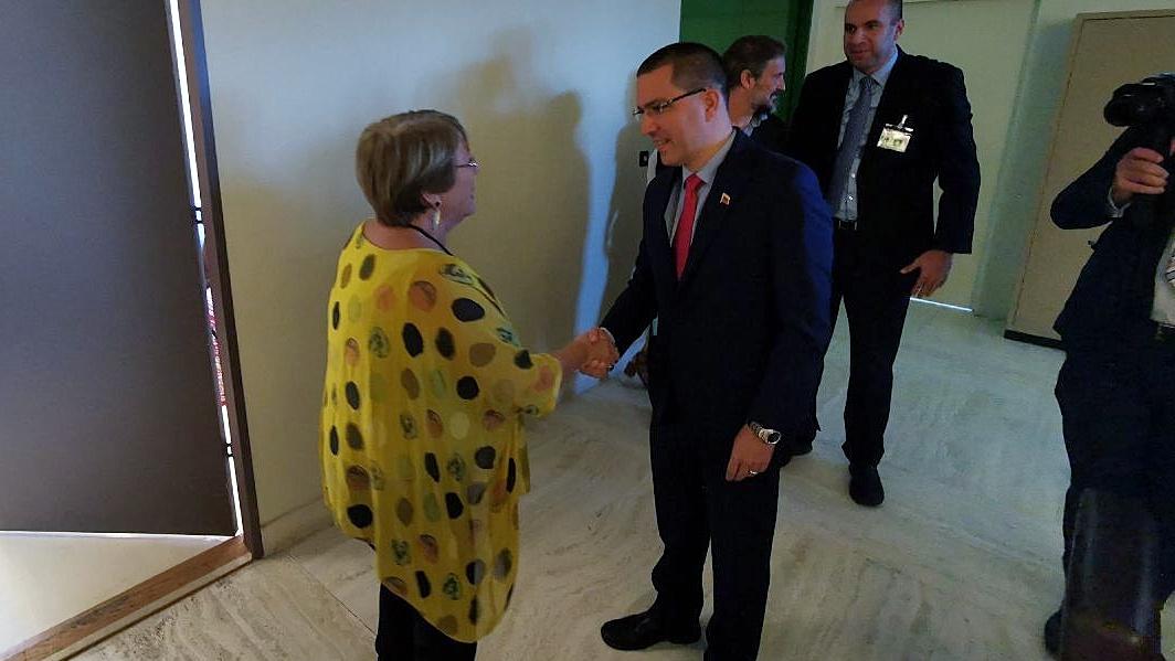 Canciller Arreaza se reúne en Ginebra con alta comisionada de la ONU Michelle Bachelet