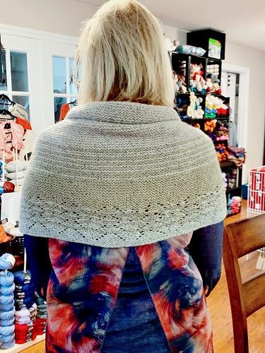 Rosemary knit Joji Locatelli's Jodi shawl using Rowan Felted Tweed