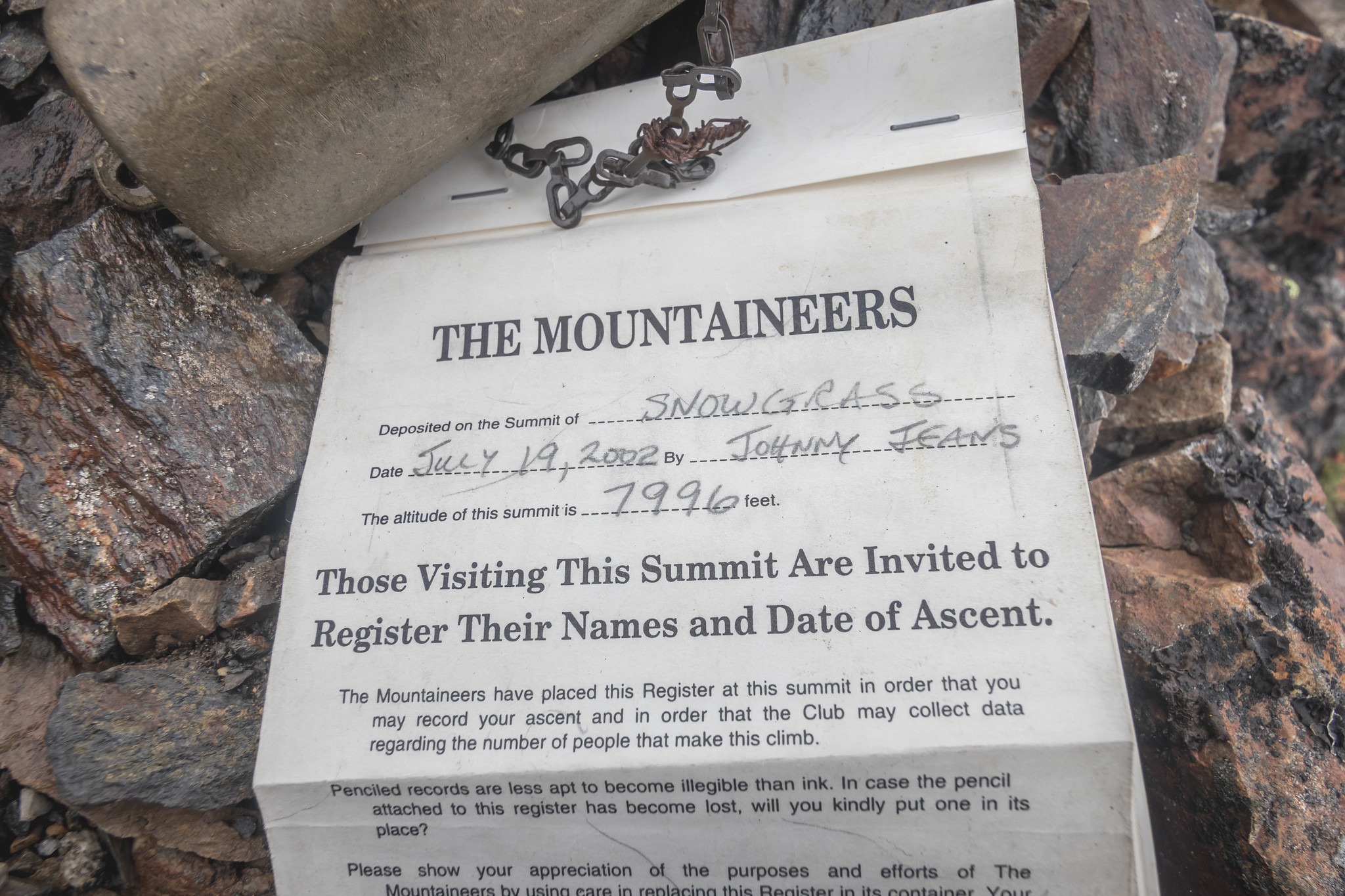 Summit register on Snowgrass Mountain