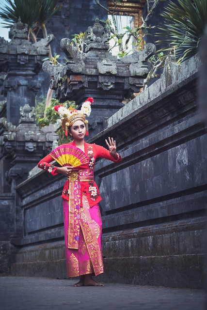 Traditional Ramayana dancer in a temple of Bali