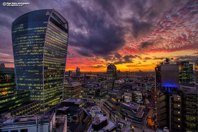 Walkie-Talkie sunset, London.