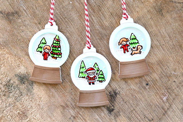 snowglobe tags (Lawn Fawn inspiration week)