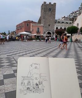 Sketching in Piazza IX Aprile, Taormina, Sicily