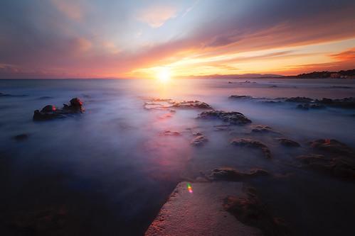 Sunset sur le Dramont ( France )