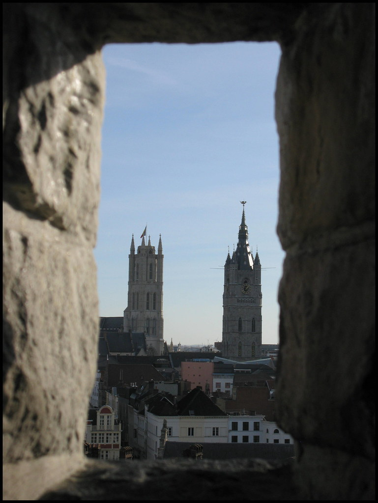 Through the Gravensteen window, Ghent, Belgium