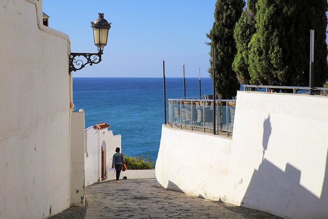 Strolling down to the beach in the white-washed village Nerja