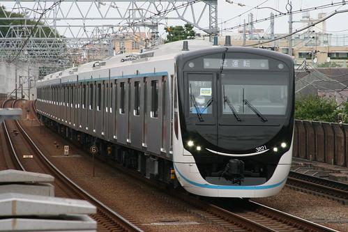 Tokyu 3020 series in Tamagawa.Sta, Ohta, Tokyo, Japan /Sep 14, 2019