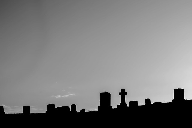 Headstones Backlit by Setting Sun 02