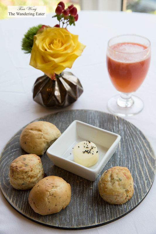 Housemade mini biscuits and rolls and fresh grapefruit juice