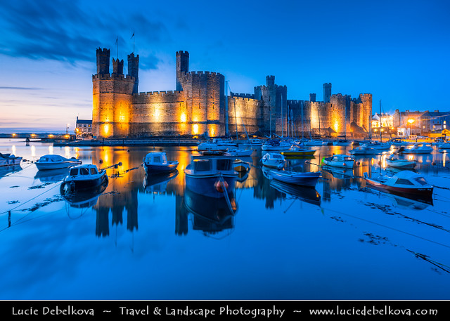 UK - Wales - Caenarfon Castle at Dusk - Twilight - Blue Hour - Night