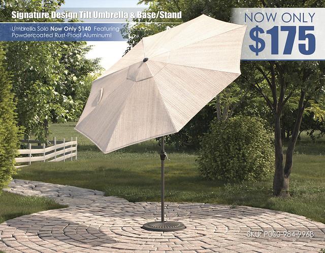 Signature Design Tilt Umbrella and Stand_P000-984-996B