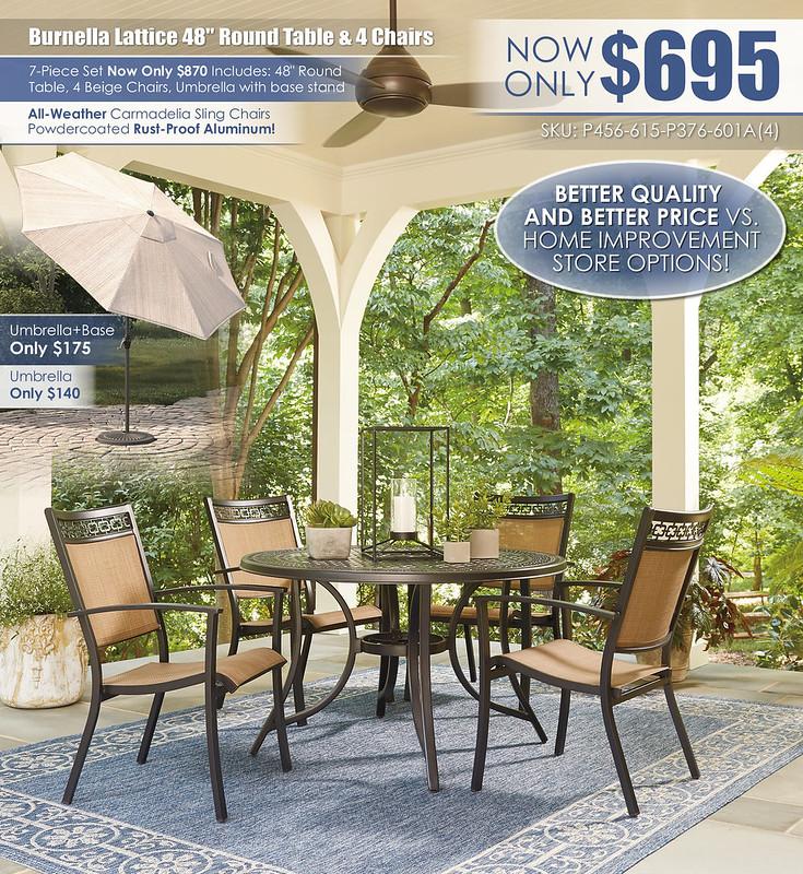 Burnella Lattice Round Table & Carmadelia ChairsP456-615-P376-601A(4)