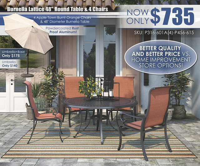Burnella Lattice Round Table & Apple Town Chairs_P316-601A(4)-P456-615