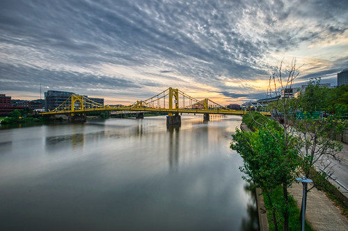 alleghenyriver andywarholbridge hdr nikon nikond5300 outdoor pennsylvania pittsburgh city clouds cloudy downtown geotagged longexposure morning outside reflection reflections river sky sunrise suspensionbridge tree trees urban water