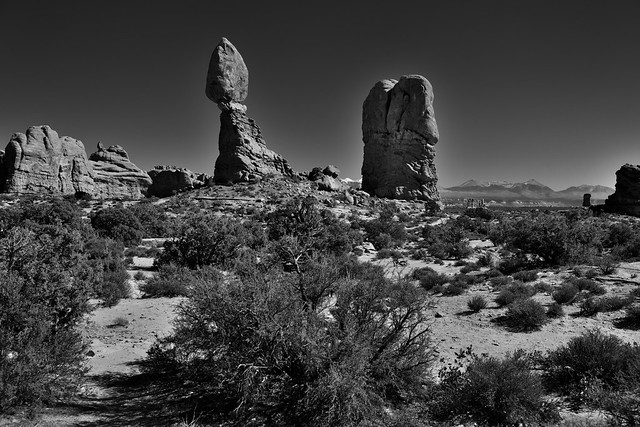 Standing Above the Other Rock Formations (Black & White, Arches National Park)