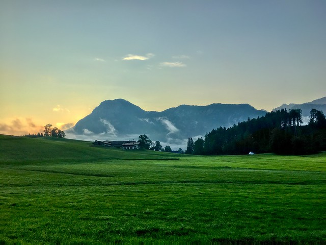 Sunrise over Zahmer Kaiser mountains near Hechtsee, Tyrol, Austria