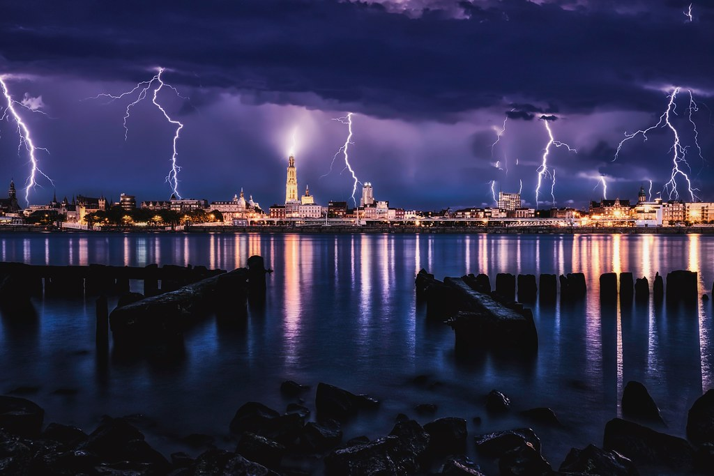 Lightning storm over Antwerp.