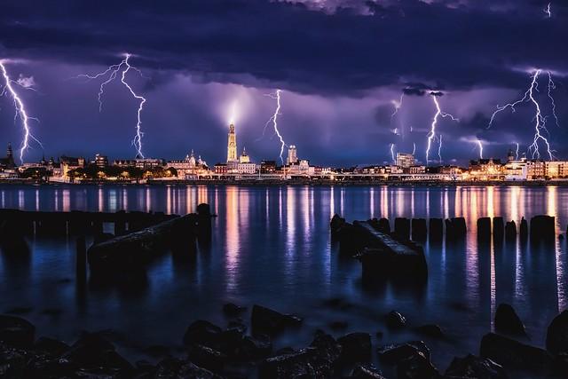 Lightning storm over Antwerp.