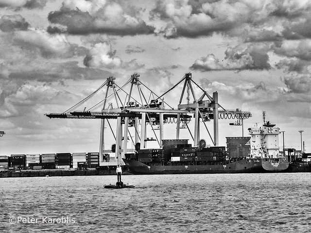 Hamburg - man on a buoy