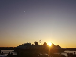 DISNEY MAGIC SAILS OUT OF LIVERPOOL INTO THE SUNSET