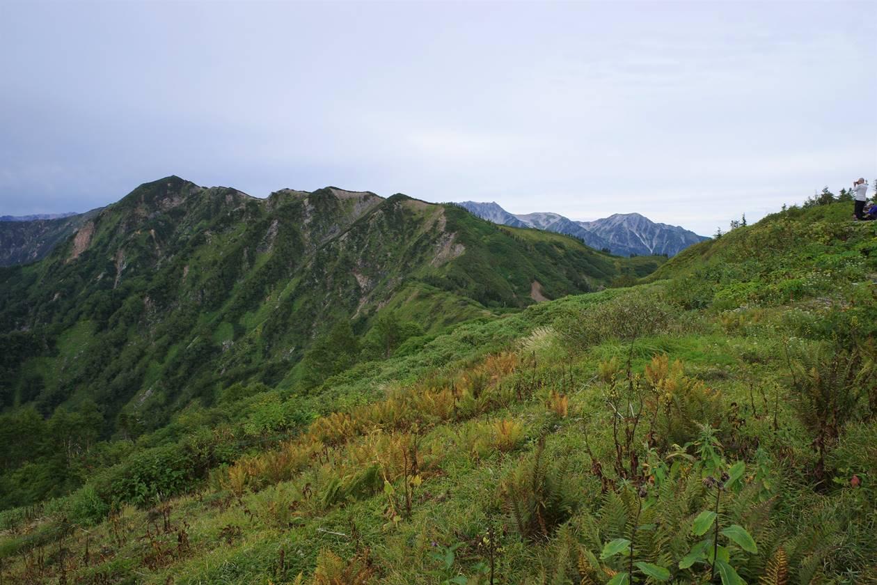 針ノ木岳方面の稜線と剱岳