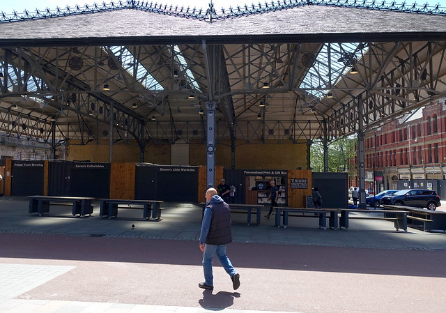 Wlaking past the Box Market at Preston