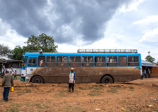 Muddy bus for the pilgrims, Oromia, Sheik Hussein, Ethiopia