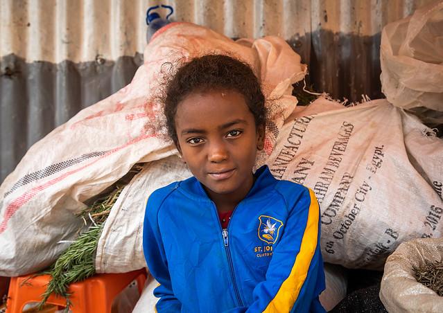 Ethiopian girl seller in the grain market, Harari region, Harar, Ethiopia
