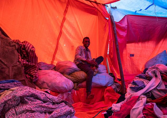 Clothes market under red protection, Harari region, Harar, Ethiopia