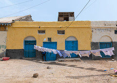 Clothes drying in the sun, Sahil region, Berbera, Somaliland