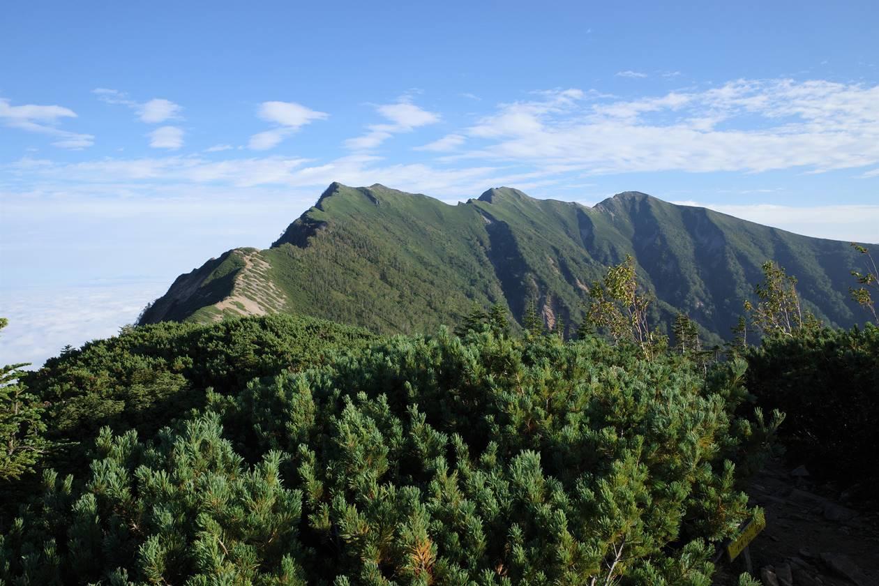 冷池山荘テント場から眺める爺ヶ岳