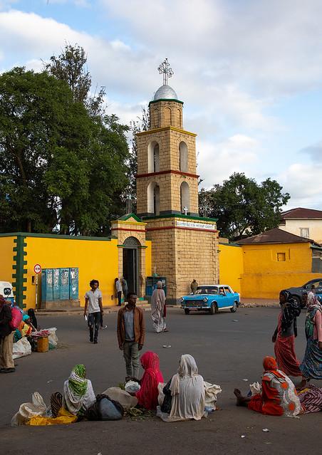 Peugeot 404 taxis in medhane alem cathedral, Harari region, Harar, Ethiopia
