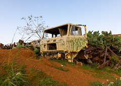 Truck in the military tank graveyard, Central region, Asmara, Eritrea