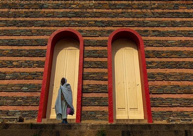 Eritrean woman praying at enda mariam orthodox cathedral, Central region, Asmara, Eritrea