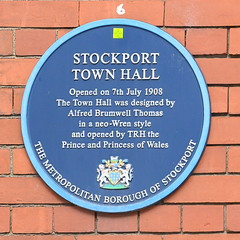 Stockport Town Hall. Opened on 7th July 1908. The Town Hall was designed by Alfred Brumwell Thomas in a neo-Wren style and opened by TRH the Prince and Princess of Wales