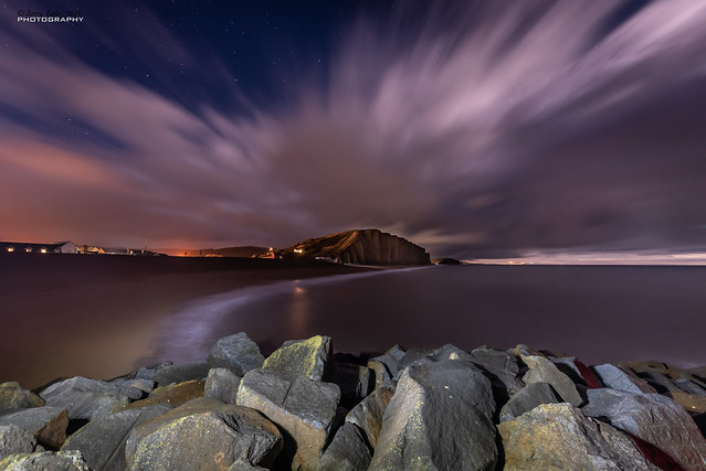 West Bay cliffs by moonlight