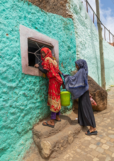 Harari women in the street, Harari region, Harar, Ethiopia
