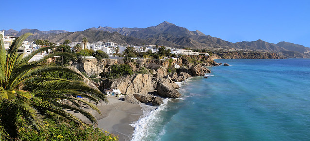 Nerja beach surrounded by the Sierra de Almijara mountains