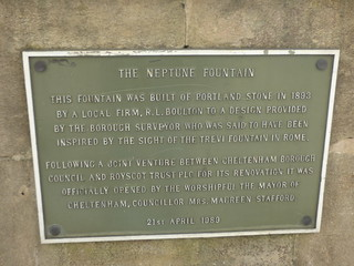 The Neptune Fountain - Promenade, Cheltenham - plaque