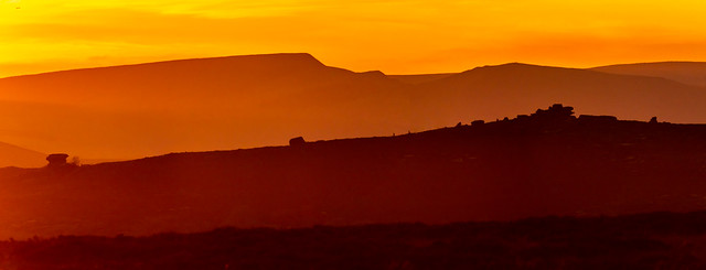 View towards Over Owler Tor just before sunset
