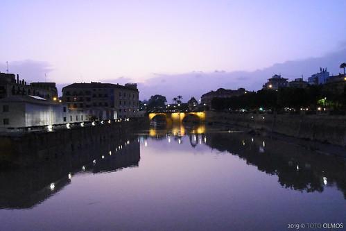 dana murcia puente sunset watercolor acuarela atardecer river rio segura