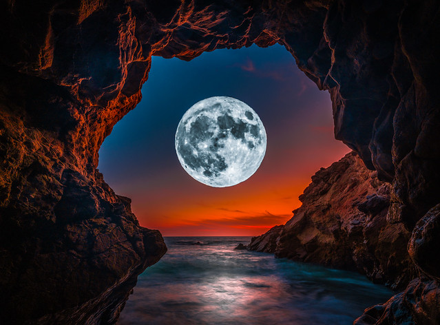 Malibu Luna: Malibu Sea Cave Full Moon Moonrise Sunset Dusk Fine Art Landscape Nature Photography! Fujifilm GFX 100 Medium Format Mirrorless Camera! Elliot McGucken Fuji GFX100 Astro Landscape! Fujifilm Fujinon GF 23mm F/4 R Lm Wr Lens GFX Medium Format!