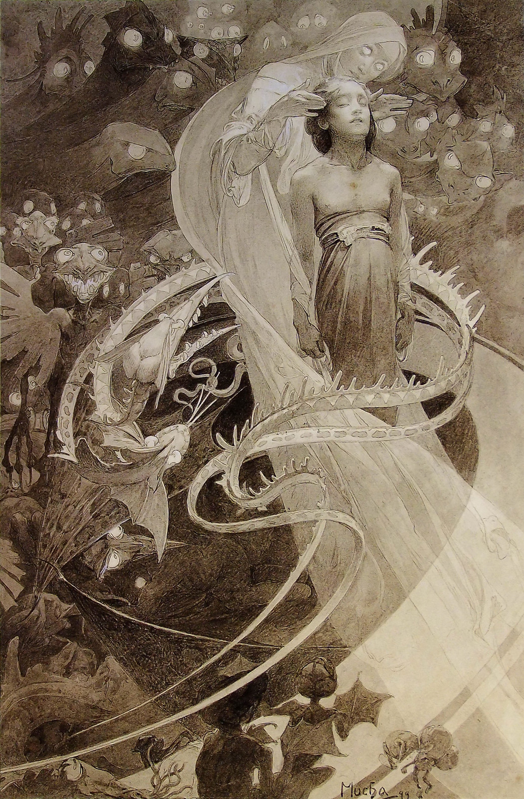 """Alphonse Mucha - Le Pater, """"Lead Us Not Into Temptation But Deliver Us From Evil."""" 1899"""