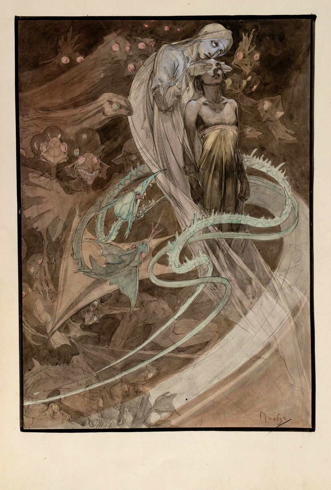 """Alphonse Mucha - Le Pater, """"Lead Us Not Into Temptation But Deliver Us From Evil."""" Colorized, 1899"""