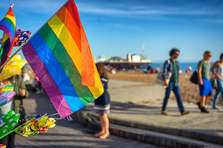 Rainbow flag on sale in seafront stall